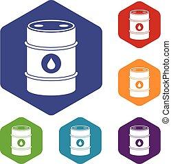 Metal oil barrel icons set