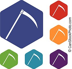 Scythe icons set rhombus in different colors isolated on...
