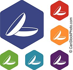 Contact lenses icons set rhombus in different colors...