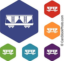 Freight railroad car icons set rhombus in different colors...