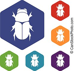 Chafer beetle icons set rhombus in different colors isolated...