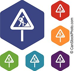 Road works sign icons set rhombus in different colors...