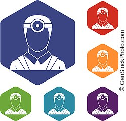 Ophthalmologist with head mirror icons set rhombus in...