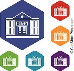 Embassy icons set
