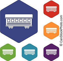 Passenger train car icons set rhombus in different colors...