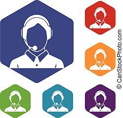 Client services , phone assistance icons set