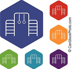 Climbing rings and ladder icons set - Horizontal bar with...