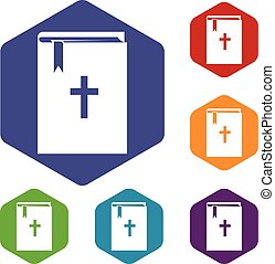 Bible icons set rhombus in different colors isolated on...