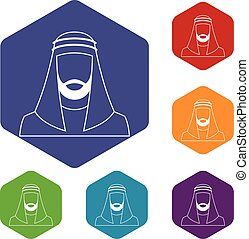 Arabic man in traditional muslim hat icons set rhombus in...