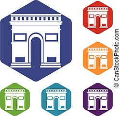Triumphal arch icons set rhombus in different colors...