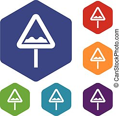 Uneven triangular road sign icons set
