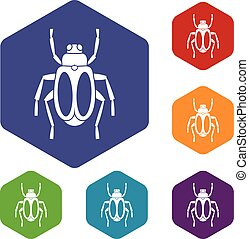 Dung beetle icons set rhombus in different colors isolated...