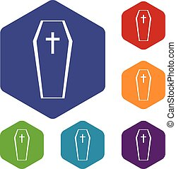 Coffin icons set rhombus in different colors isolated on...