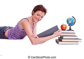 Student studying - Girl doing her homework Studying cheerful...