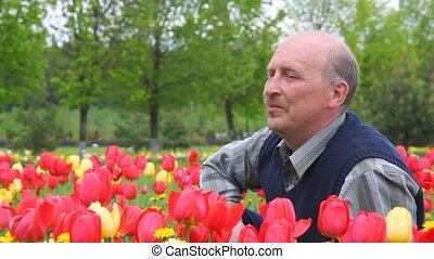 bald-headed man with moustache sits among flowers