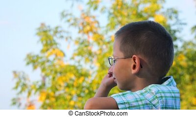 bespectacled boy jerkes his finger forward in park -...