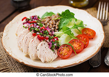 Diet food. Chicken breast with buckwheat and vegetables....