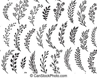 Seamless pattern with hand drawn leaves and branches. Vector...
