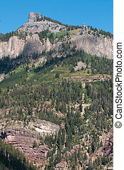 Above Ouray - Twin Peaks towers above the historic mining...