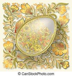 Gold easter egg on floral ornament