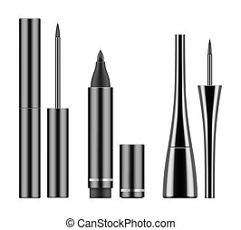 Black liquid eyeliners and pencil. - Collection of types 3d...