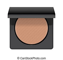 Realistic of case with bronzer. Bronzing shiny powder for...
