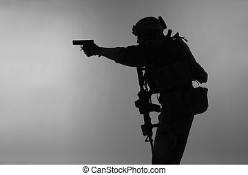 soldier with pistol - United states Marine Corps special...