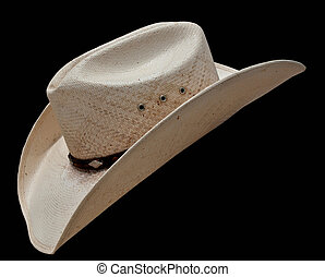 Cowboy Hat - White cowboy hat isolated on black background