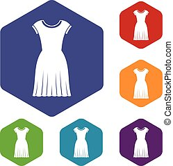 Woman dress icons set rhombus in different colors isolated...