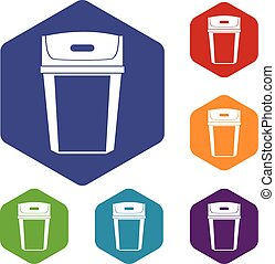 Big trashcan icons set rhombus in different colors isolated...