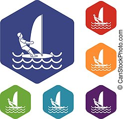 Man on windsurf icons set rhombus in different colors...