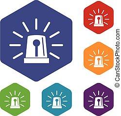 Flashing emergency light icons set
