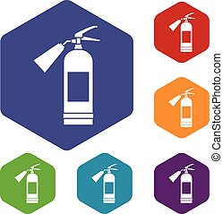 Fire extinguisher icons set rhombus in different colors...