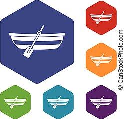 Fishing boat icons set