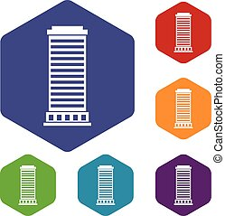 Column icons set rhombus in different colors isolated on...