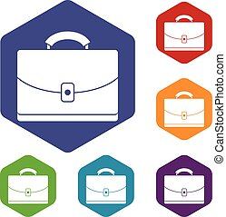 Diplomat icons set rhombus in different colors isolated on...