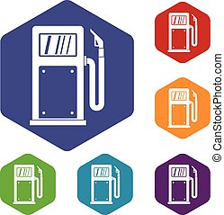 Gasoline pump icons set rhombus in different colors isolated...