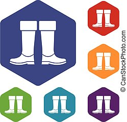 Rubber boots icons set rhombus in different colors isolated...
