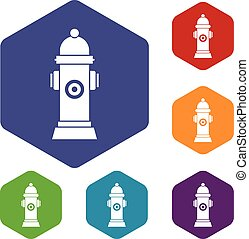 Hydrant icons set rhombus in different colors isolated on...
