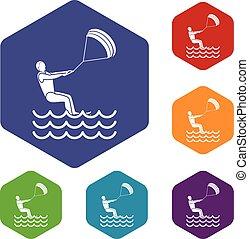 man takes part at kitesurfing icons set - Man takes part at...