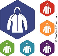 Sweatshirt icons set rhombus in different colors isolated on...