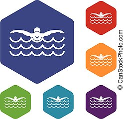 Butterfly swimmer icons set