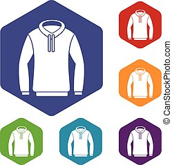 Hoody icons set rhombus in different colors isolated on...