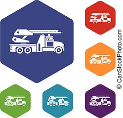 Fire engine icons set rhombus in different colors isolated...