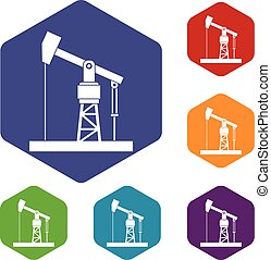 Oil pump icons set rhombus in different colors isolated on...