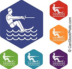Water skiing man icons set rhombus in different colors...