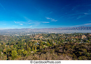 View from Mulholland Drive, Los Angeles, California, USA. -...