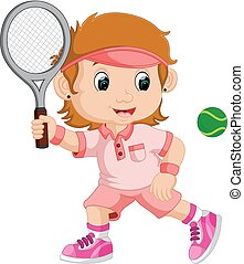 Young girl playing tennis with a racket
