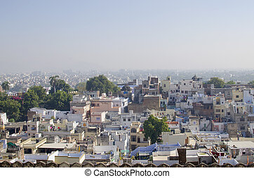 The city of Udaipur in India the top view