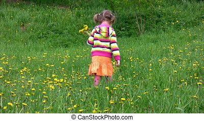 little girl gathering field flowers in forest, then comes to...